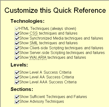 screen capture of the 'Customize this Quick Reference' section at http://www.w3.org/WAI/WCAG20/quickref/#customize
